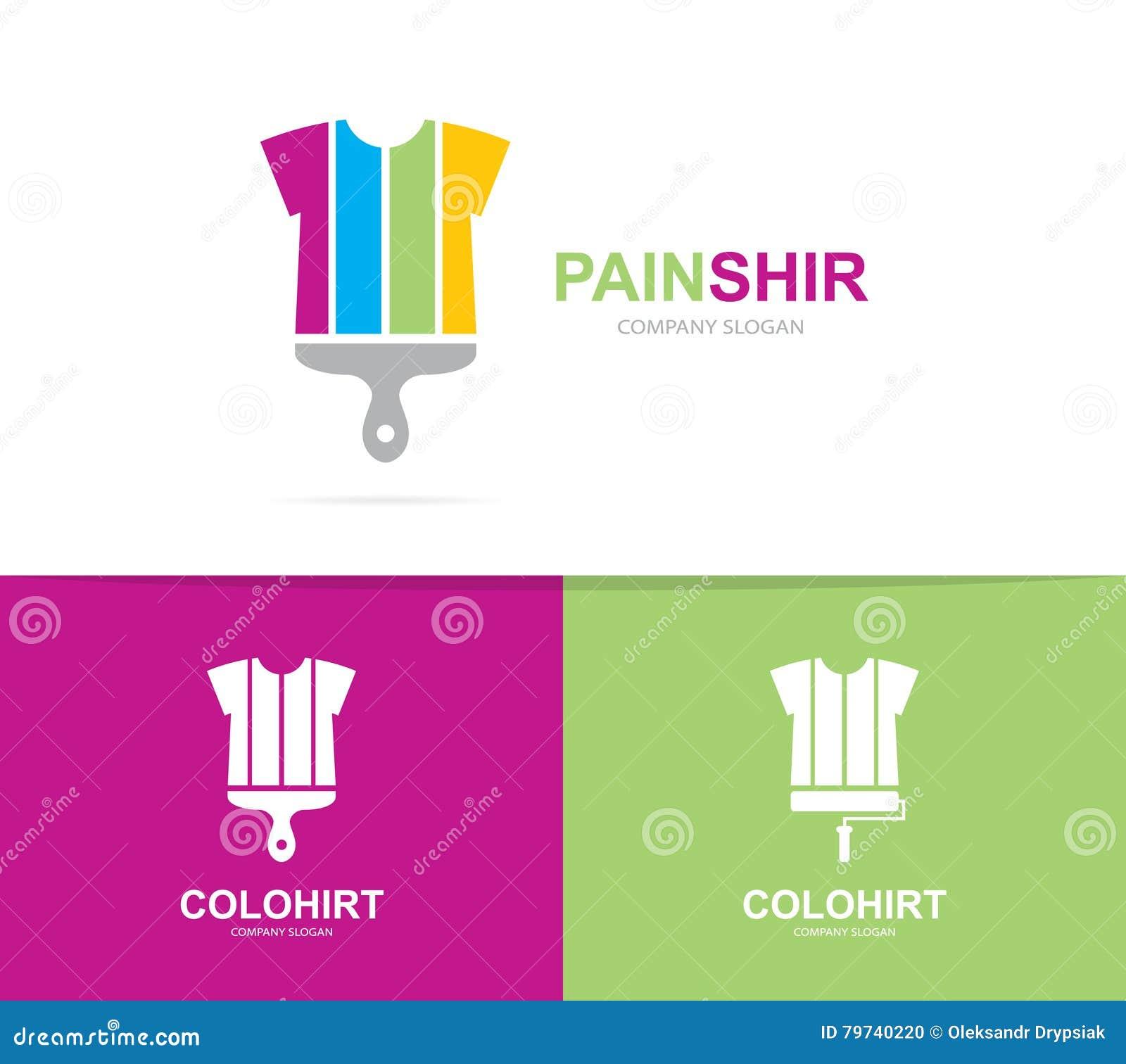 Vector de la combinación del logotipo de la camisa y del cepillo Ropa y símbolo o icono de la brocha Logotipo único del paño y de