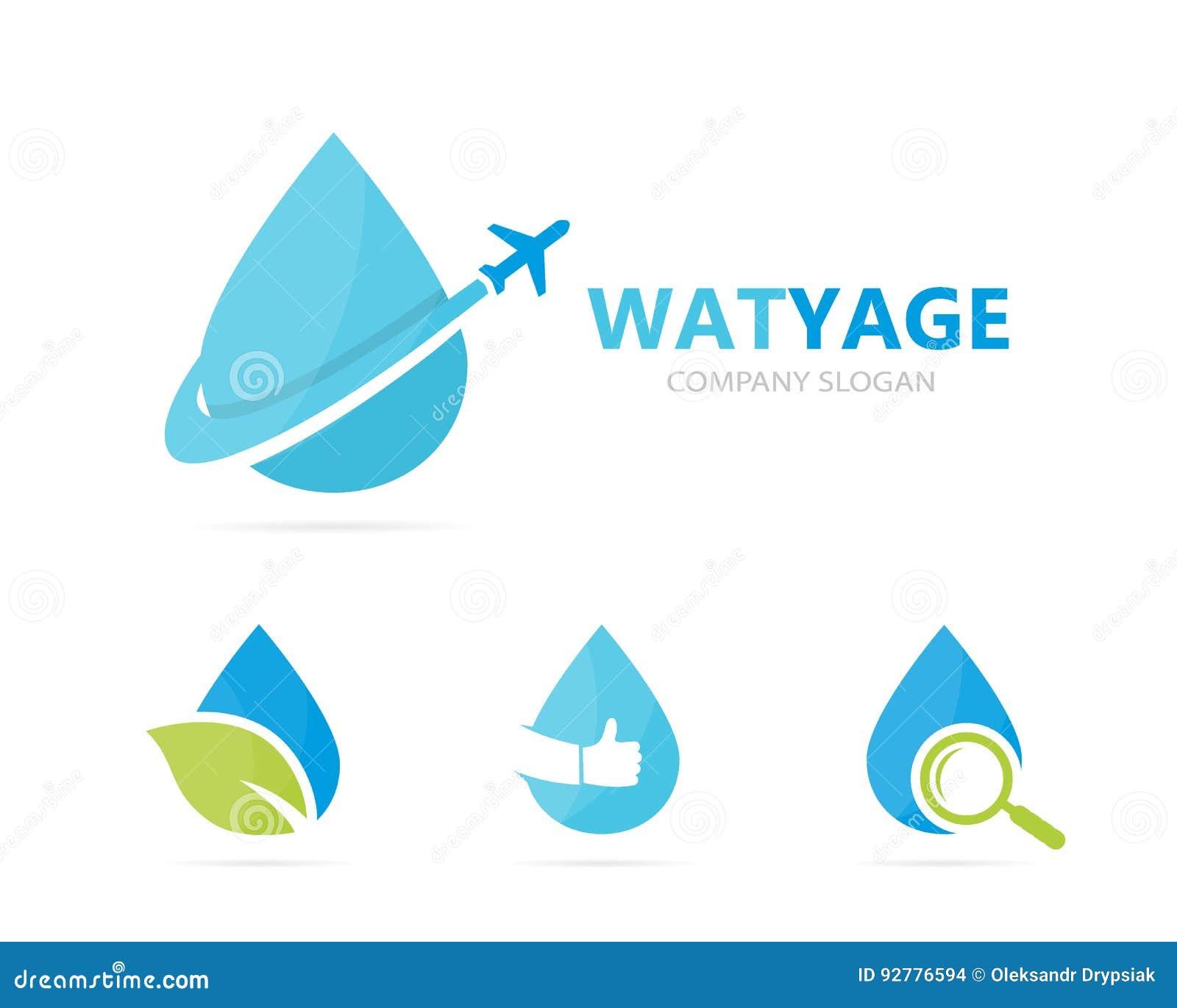 Vector de la combinación del logotipo del aceite y del aeroplano Descenso y símbolo o icono del viaje Agua del vuelo y logotipo ú