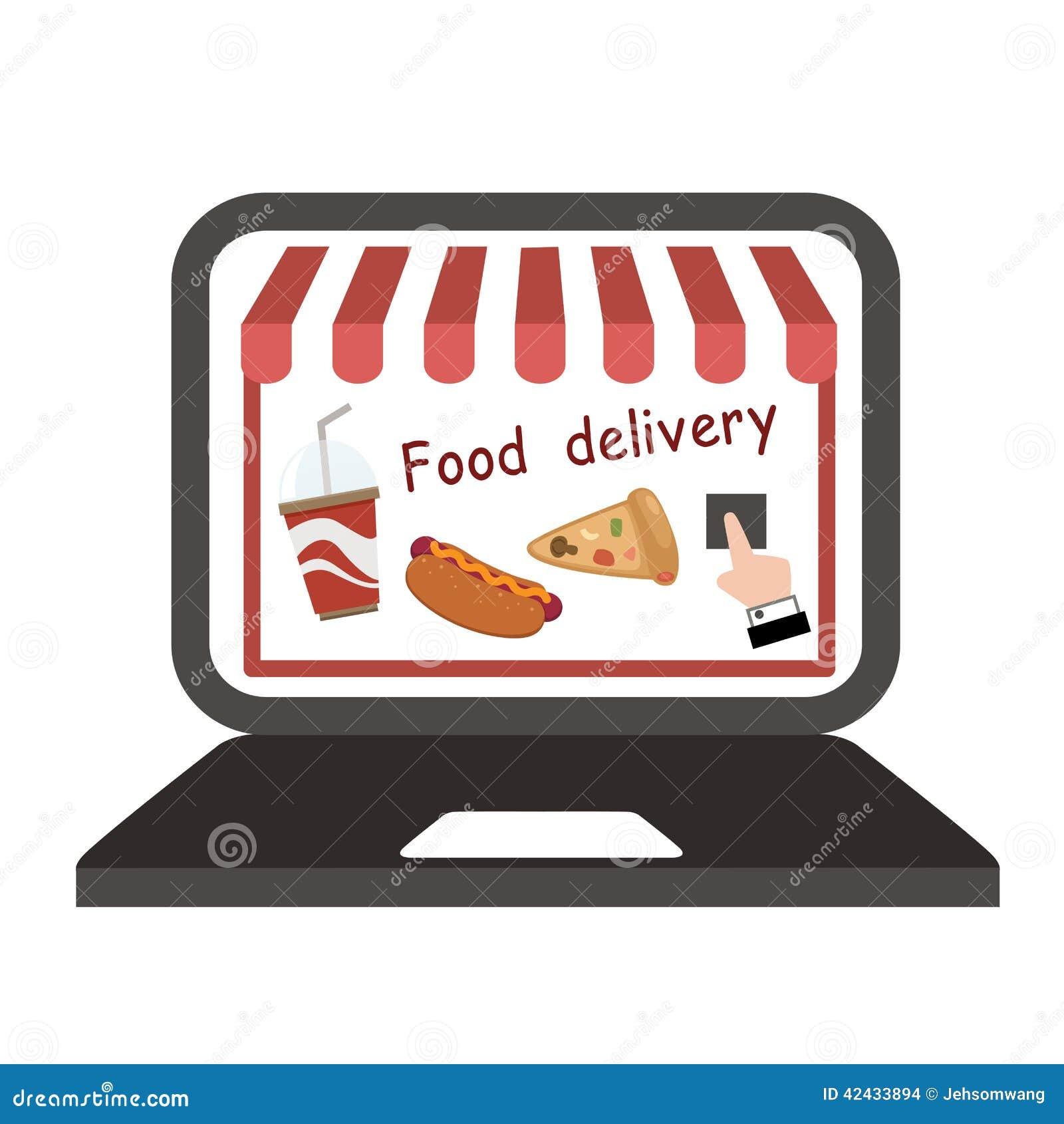 Vector de la entrega de la comida