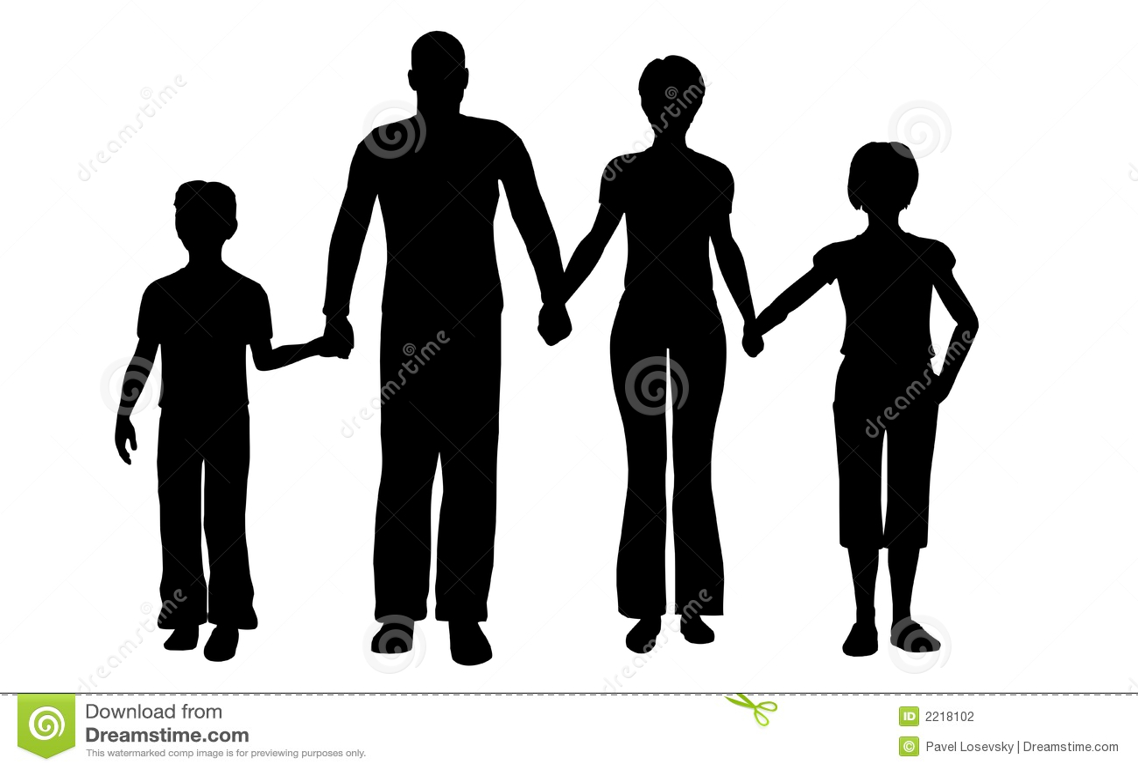Libro Para Colorear Madre Hija Ilustraciones Vectoriales Clip: Vector De La Familia De Cuatro Miembros Ilustración Del