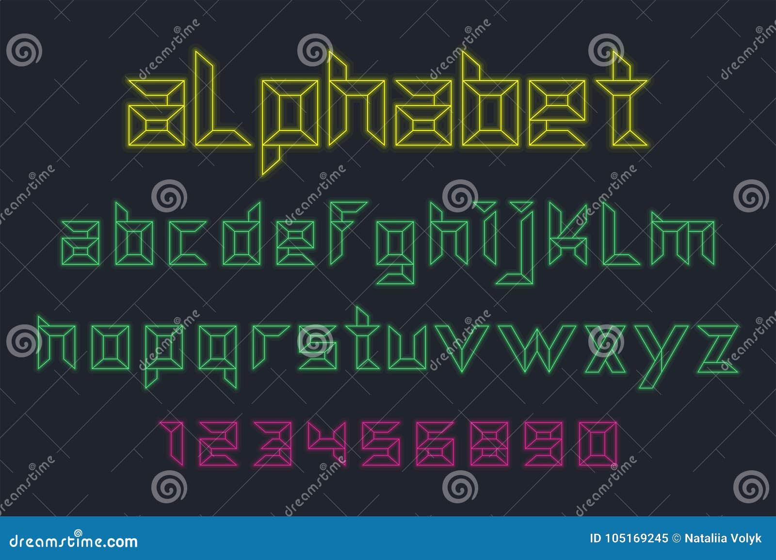 Vector de la fuente de neón y del alfabeto