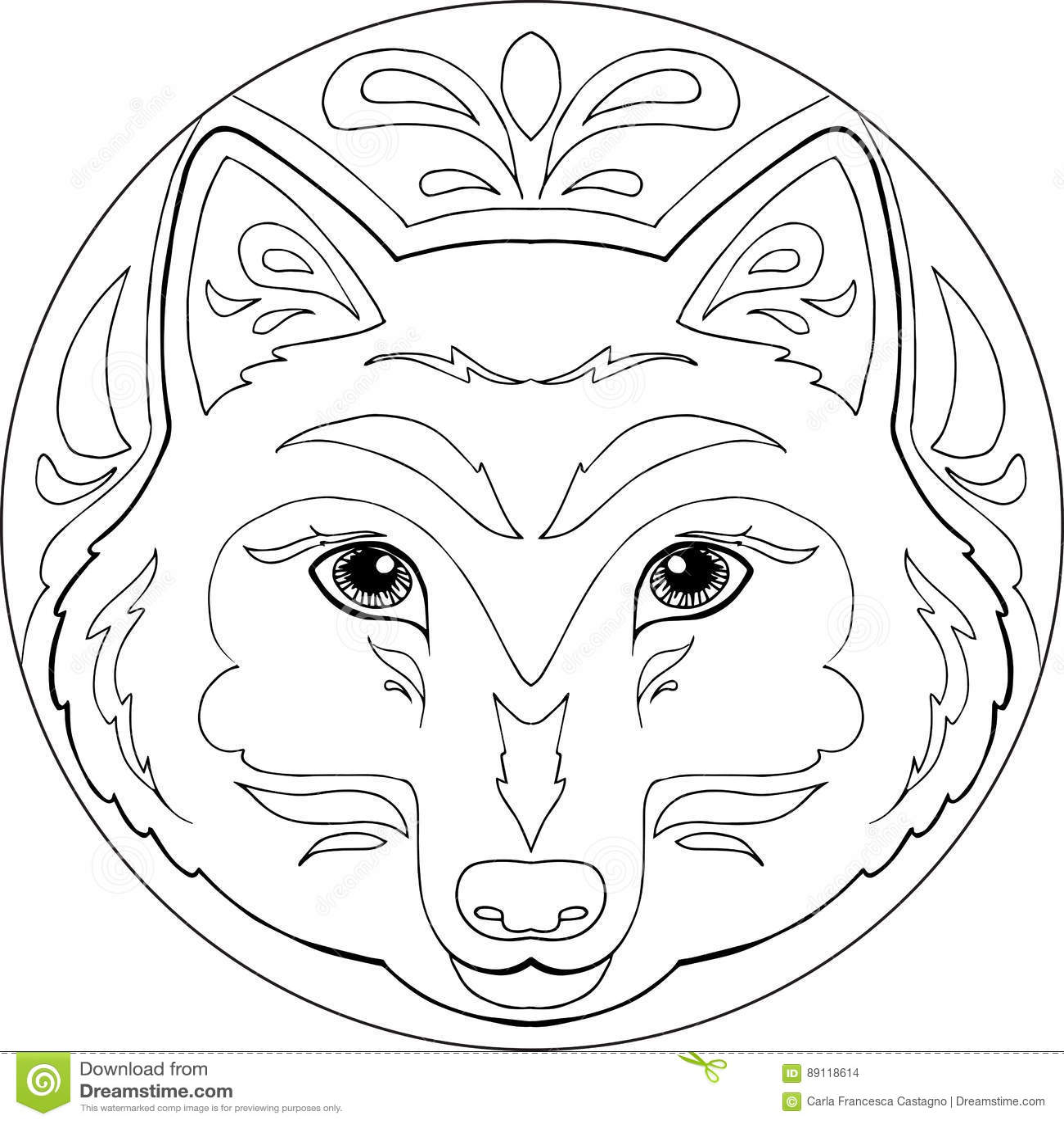 Vector De La Mandala Del Lobo Del Colorante Ilustración Del Vector