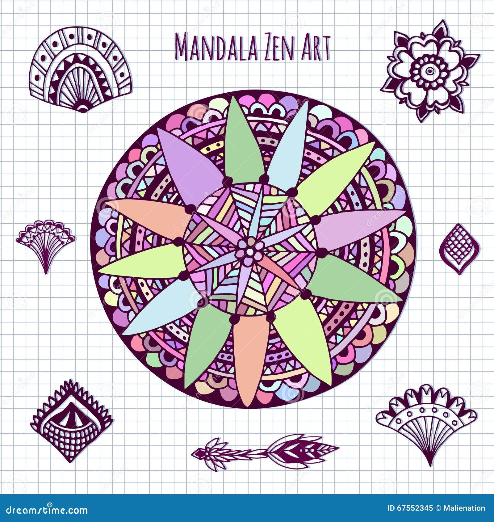 Vector De La Mandala Para El Libro De Colorear Zentangle Del Círculo ...