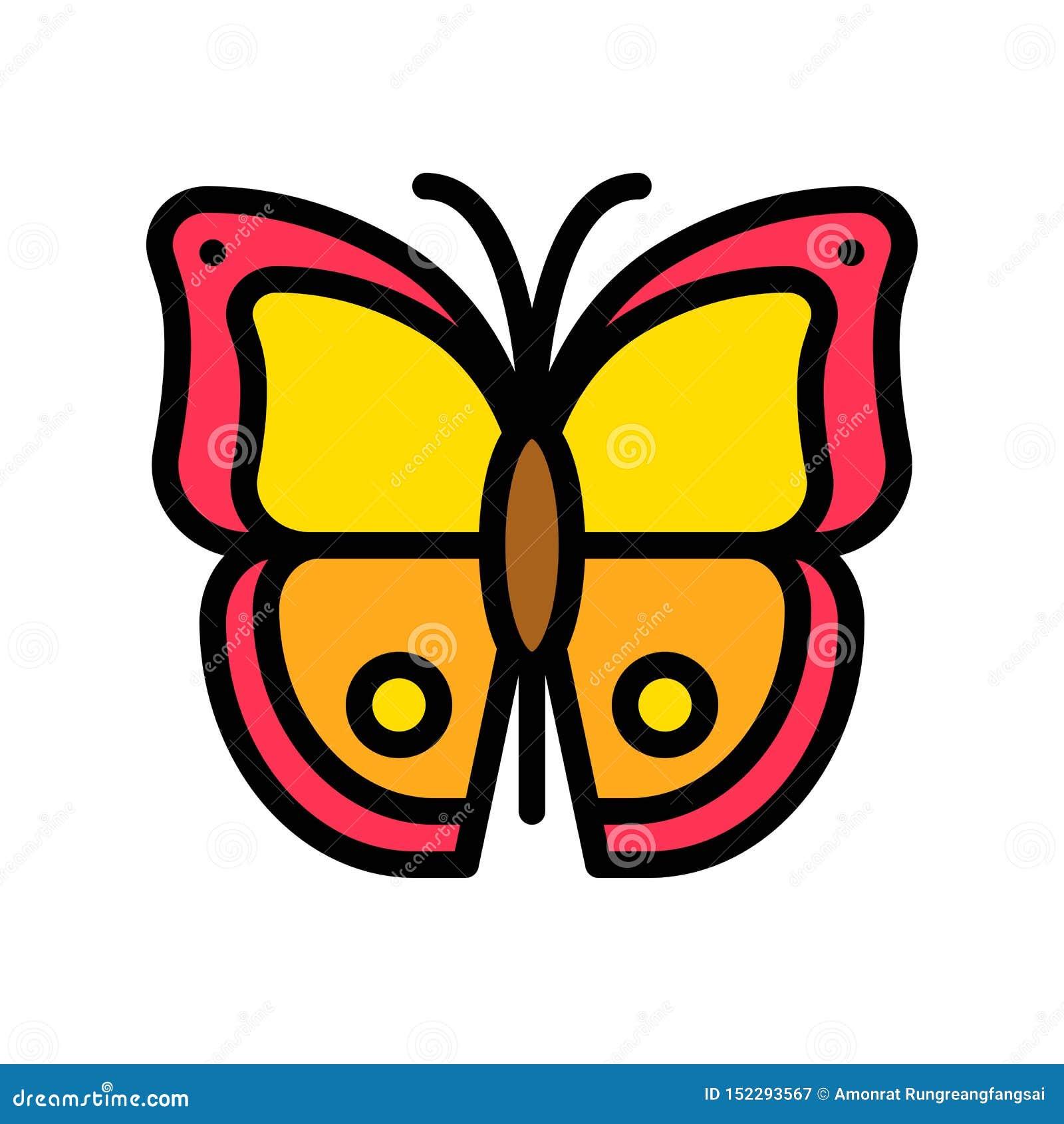 Vector de la mariposa, icono llenado relacionado tropical del estilo