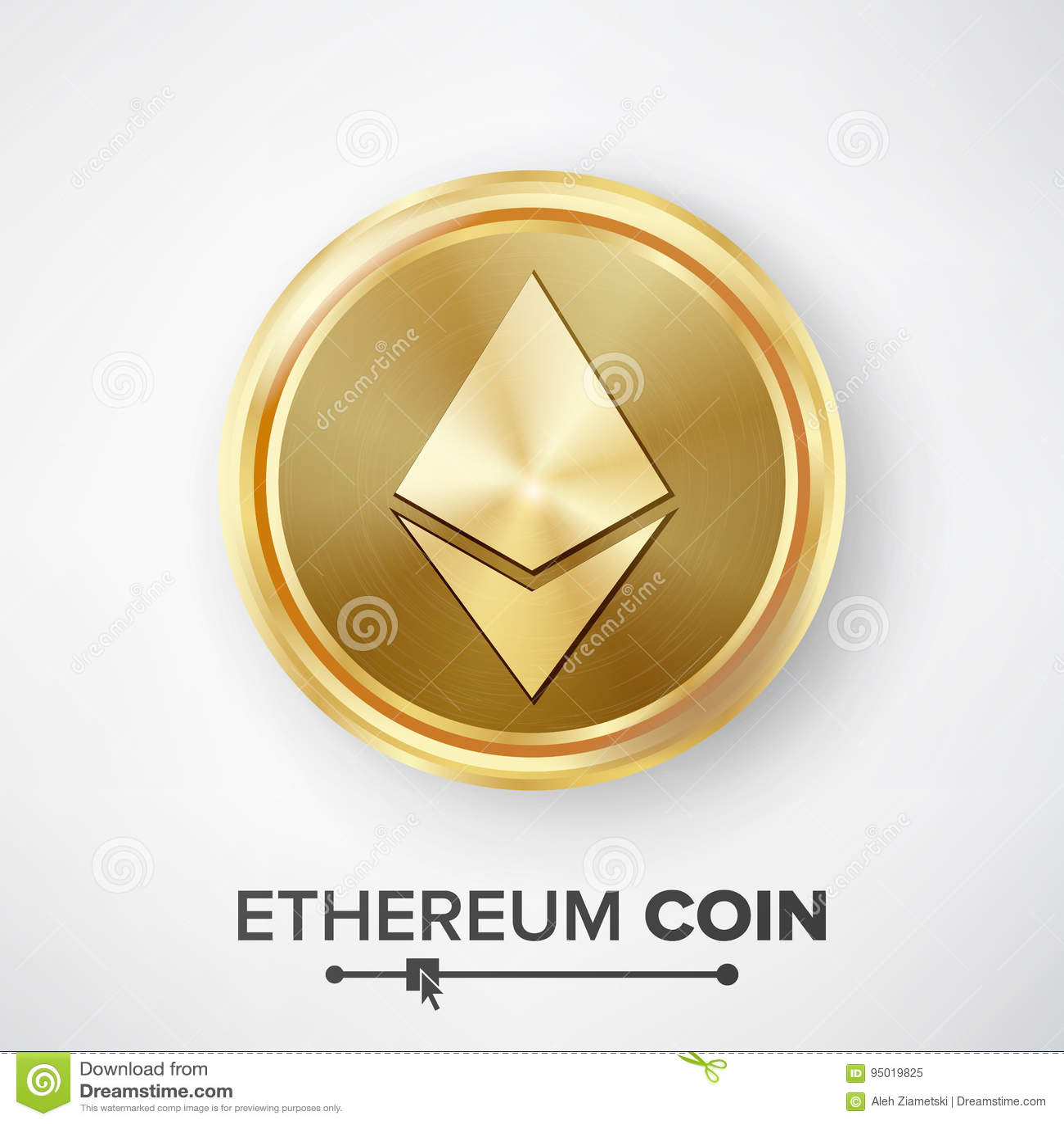 Vector de la moneda de oro de moneda de Ethereum Dinero de la moneda y ejemplo Crypto realistas de la muestra de las finanzas Mon