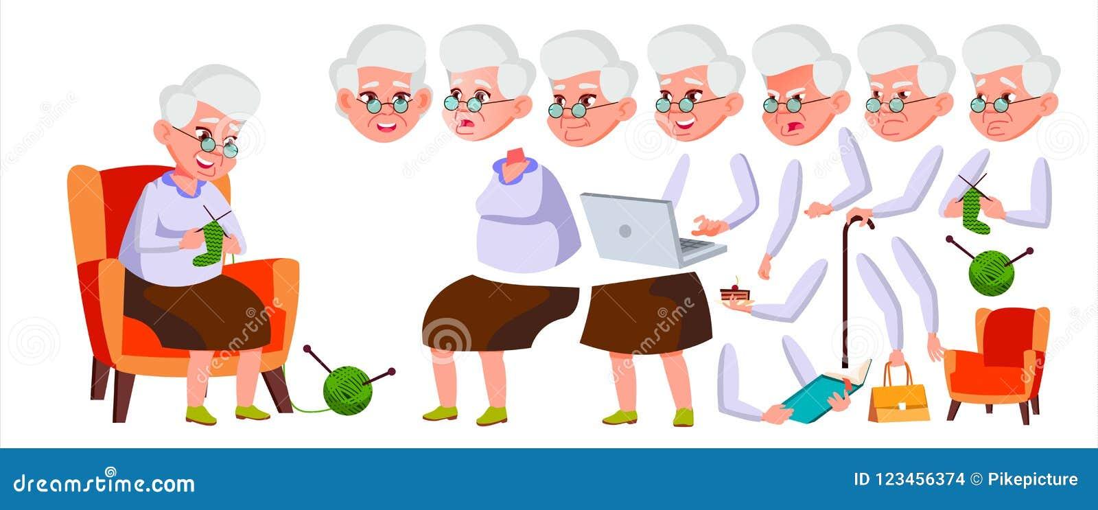 Vector de la mujer mayor Person Portrait mayor Personas mayores envejecido Sistema de la creación de la animación Emociones de la