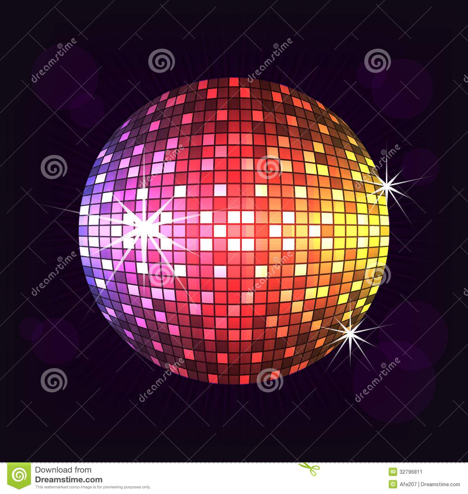 Vector de la noche de la bola de discoteca imagen de - Bola de discoteca de colores ...