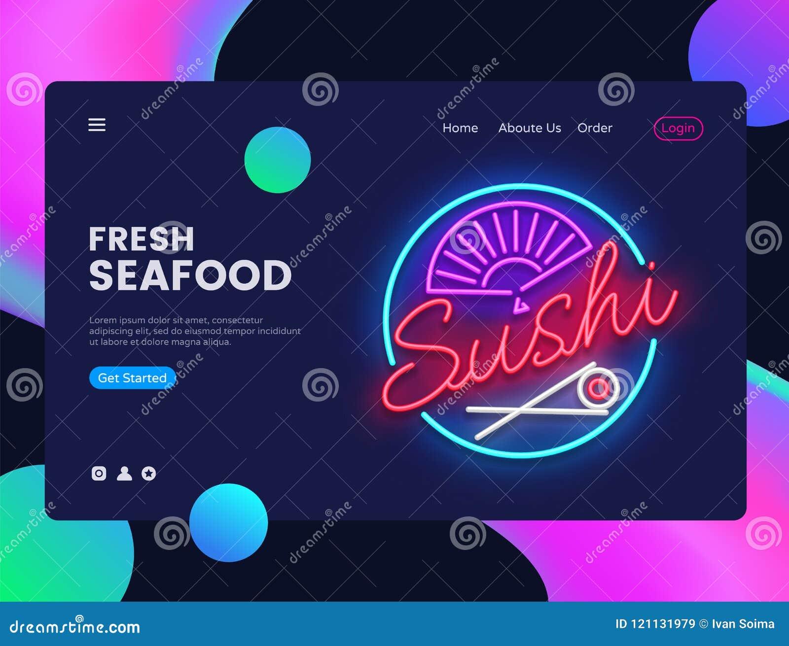 Vector de la plantilla del diseño de la bandera del sushi Interfaz de la bandera del web de los mariscos, señal de neón, diseño m