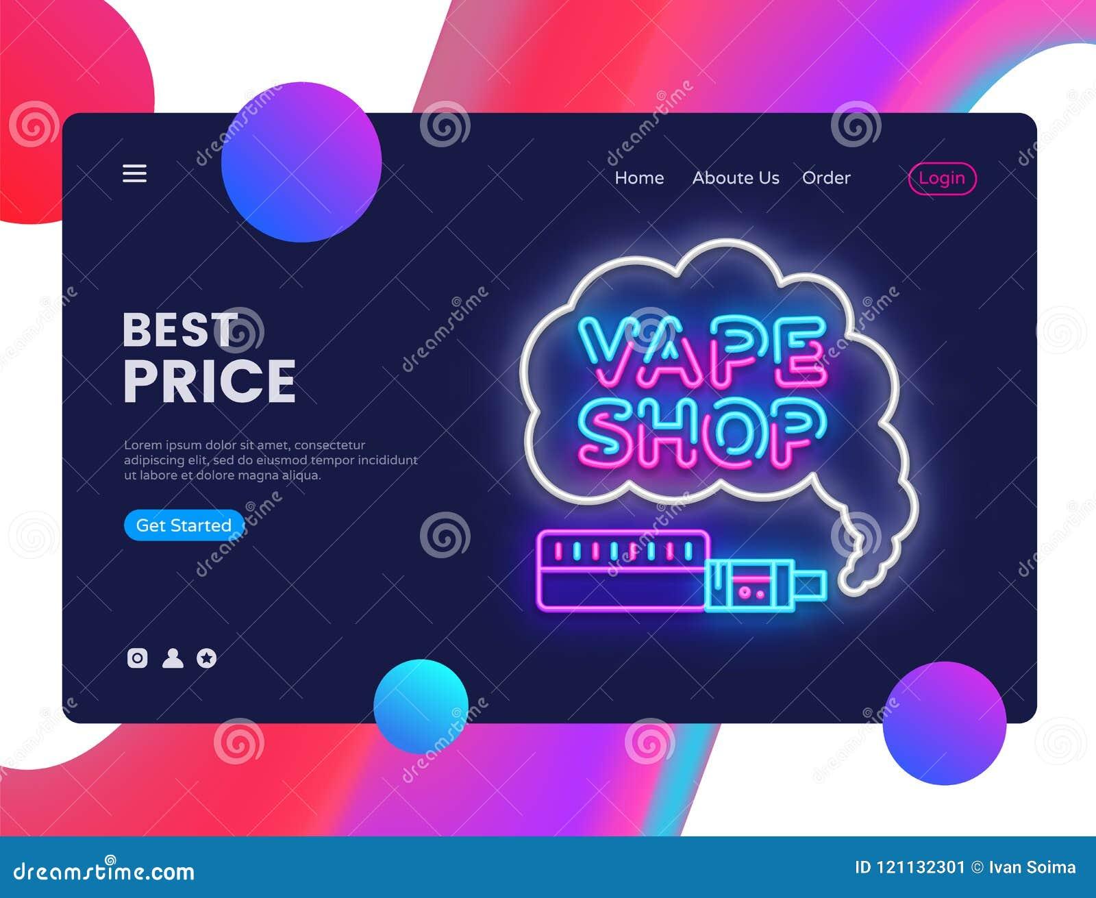 Vector de la plantilla del diseño de la tienda de Vape Interfaz de la bandera del web de Vaping, señal de neón, diseño moderno de