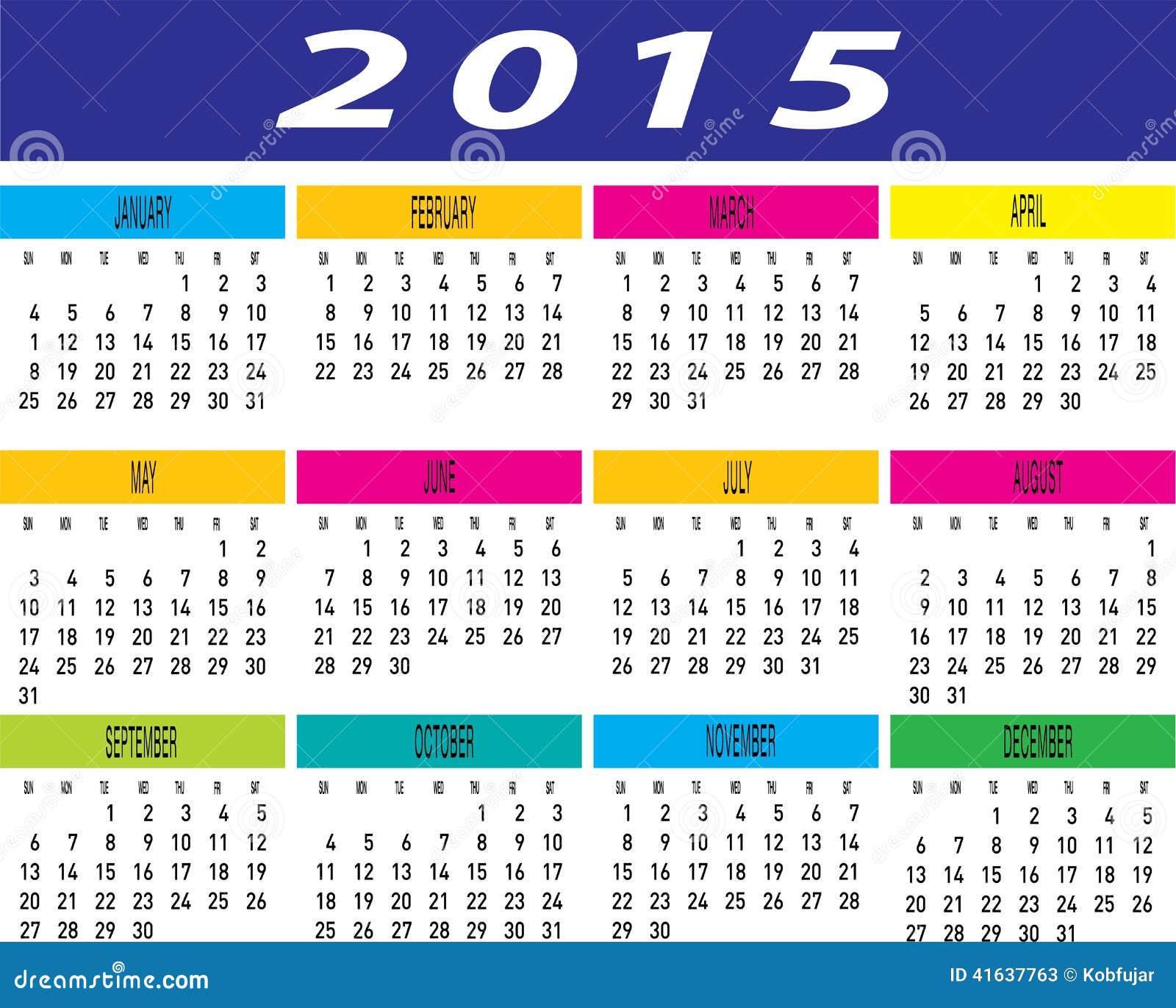 Vector De La Plantilla Mensual Colorida Del Calendario Del