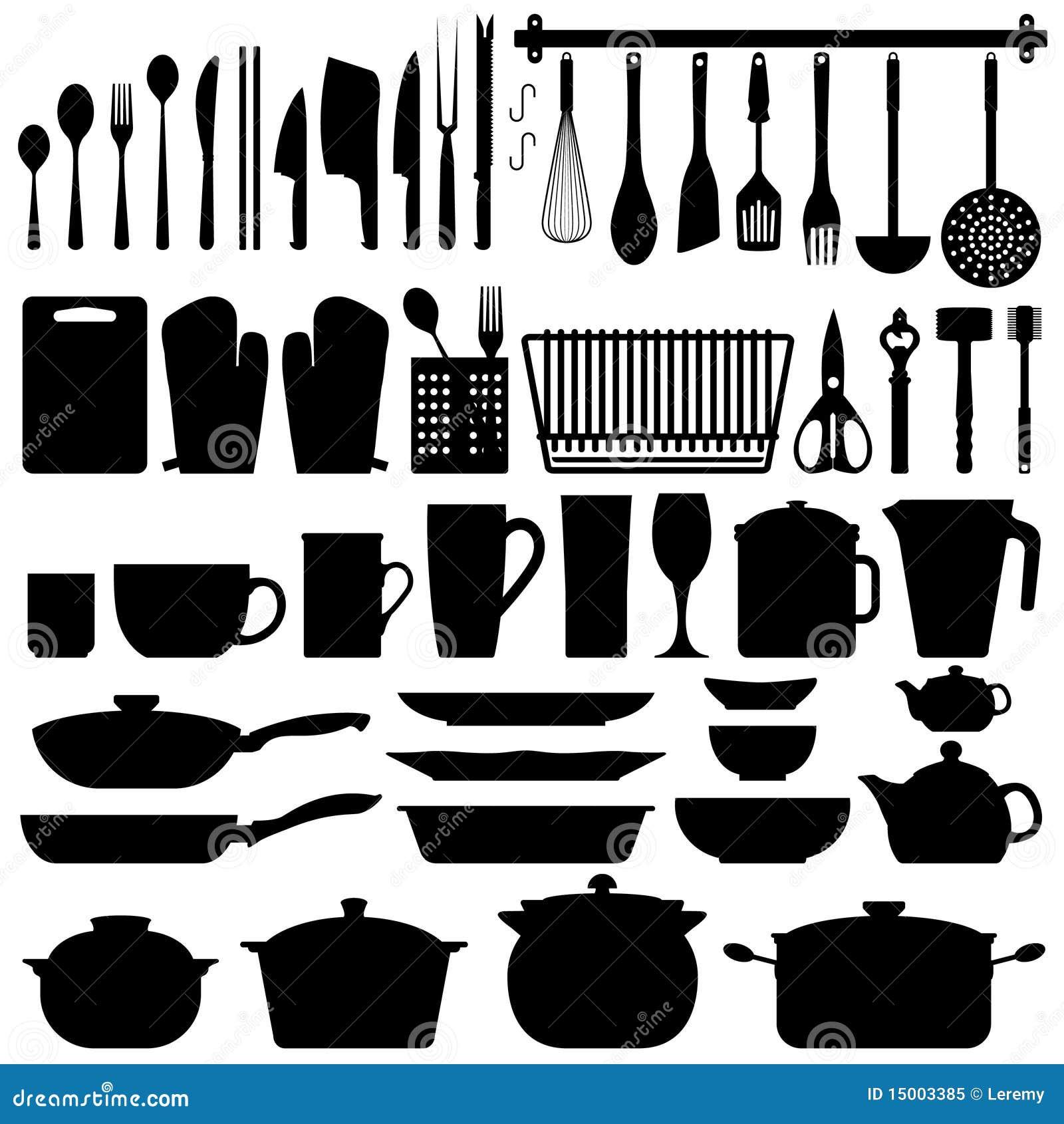 Vector de la silueta de los utensilios de la cocina for Elementos de cocina para chef
