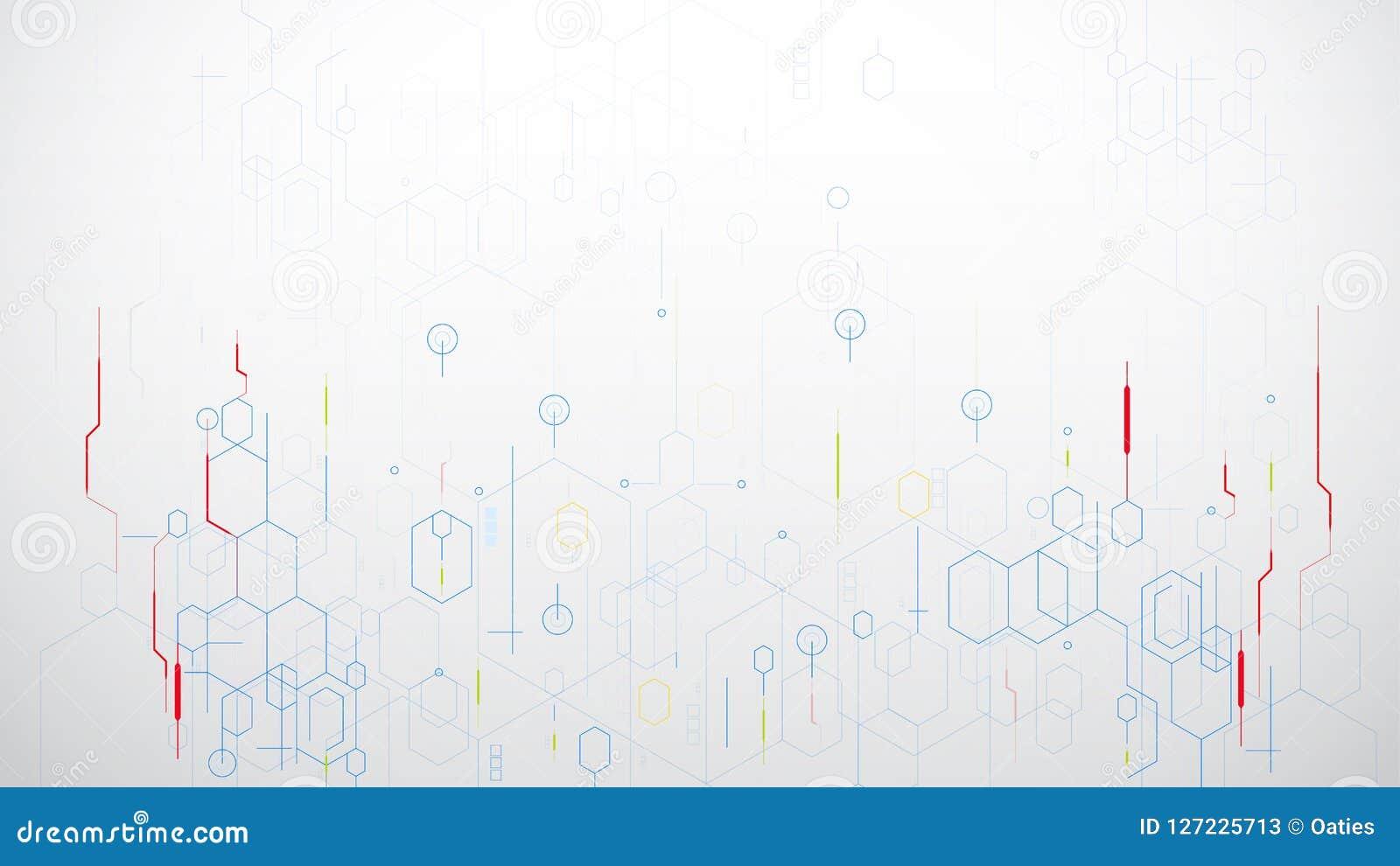 Vector de la tecnología del hexágono de la ciencia abstracta en el fondo blanco