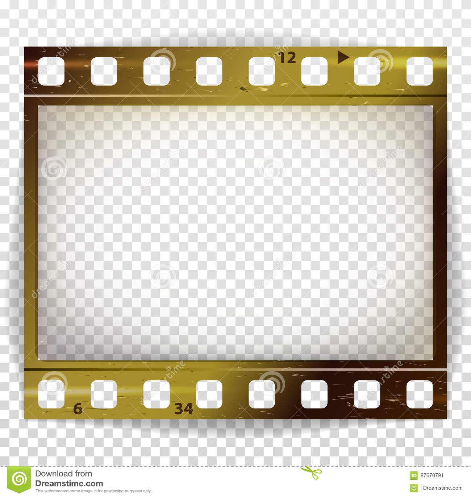 Vector de la tira de la película Cine del espacio en blanco de la tira del marco de la foto rasguñado aislado en fondo transparen