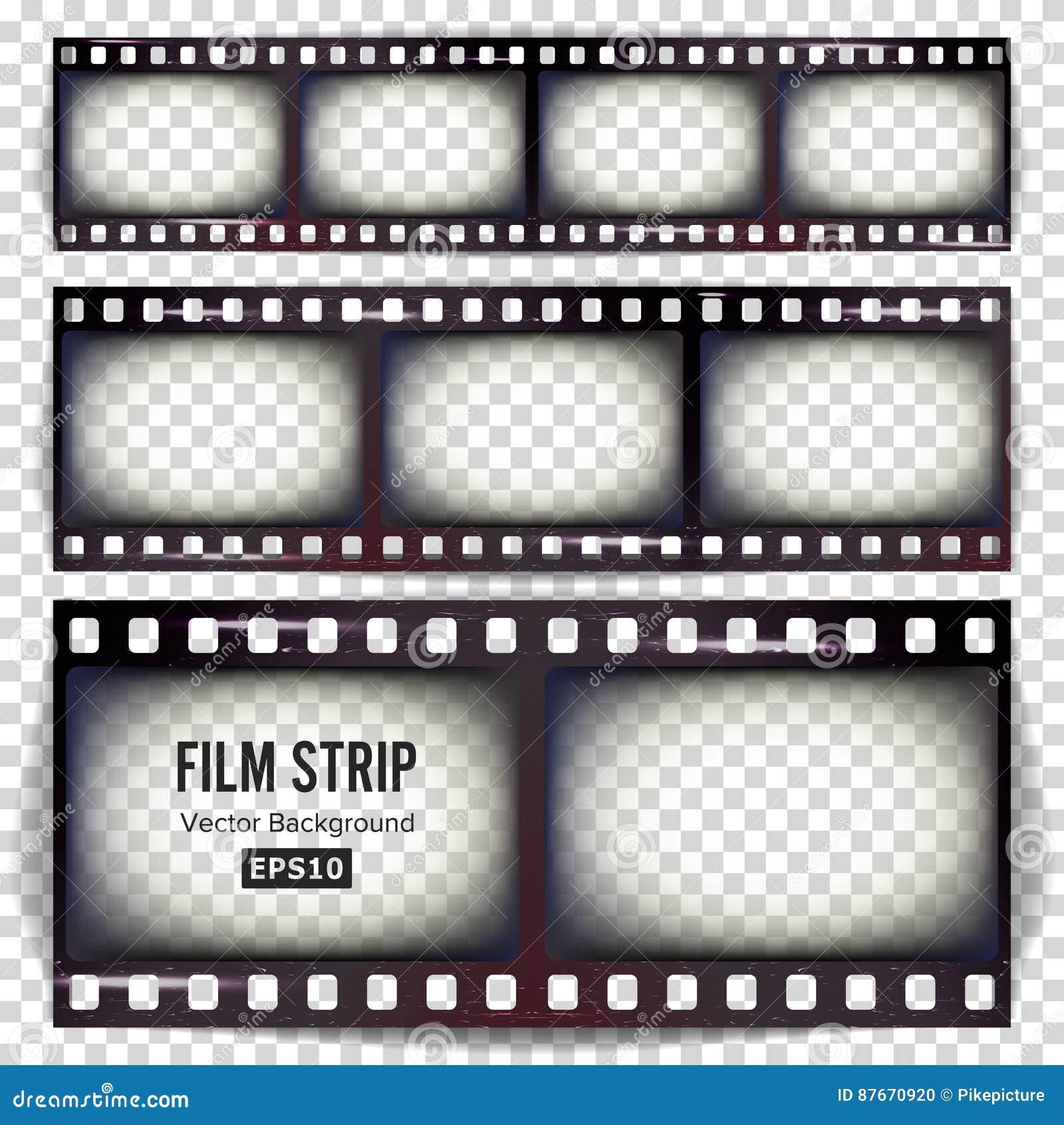 Vector de la tira de la película Espacio en blanco realista determinado de la tira del marco rasguñado aislado en fondo transpare