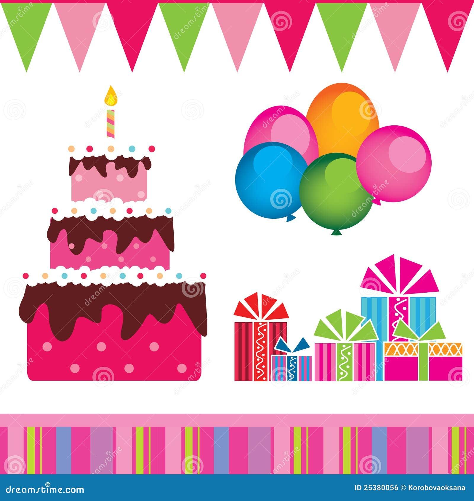 Vector De La Torta De Cumpleaños Regalos Ilustración Del Vector
