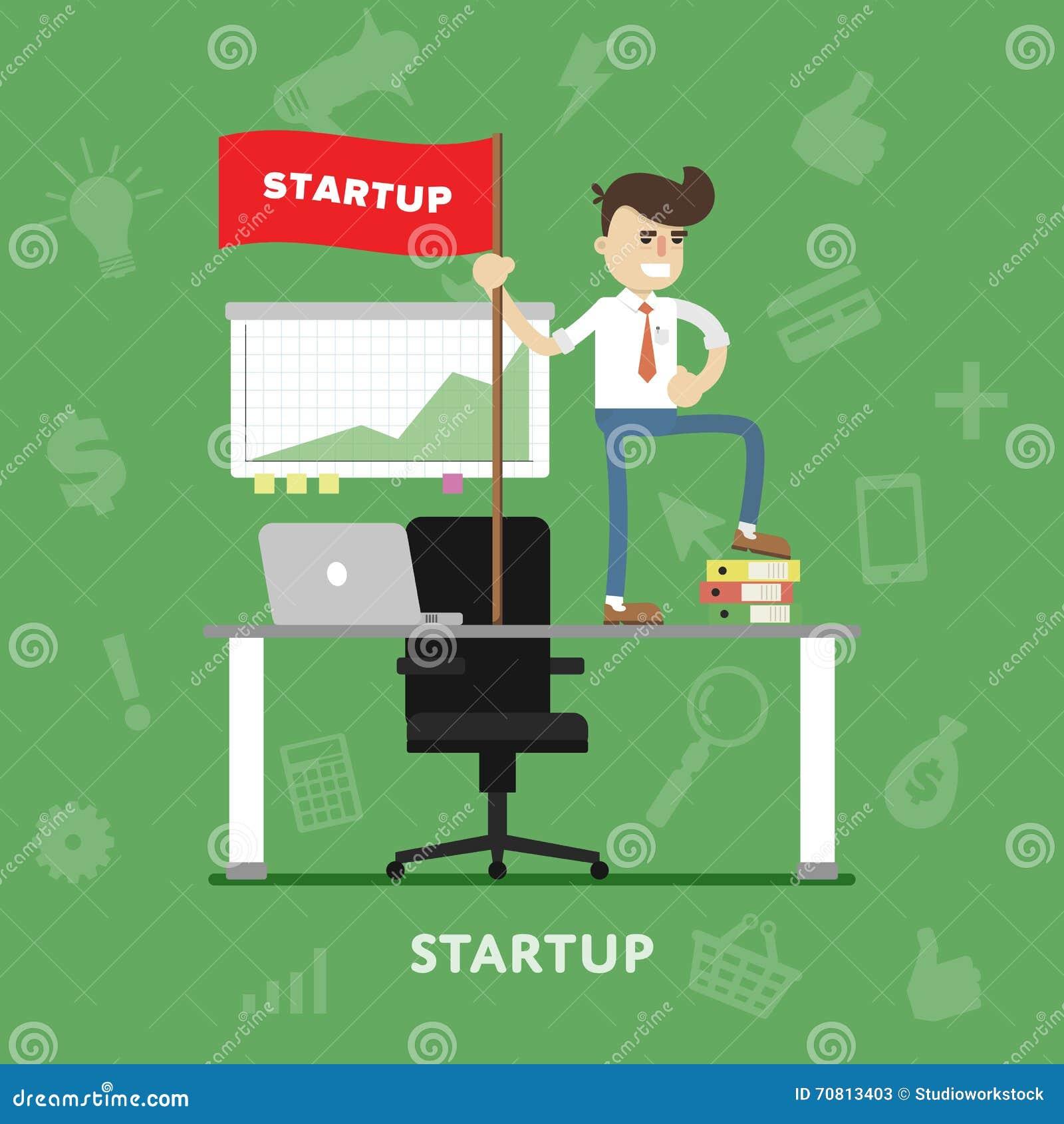 Vector de lanzamiento del proceso del proyecto del negocio plano