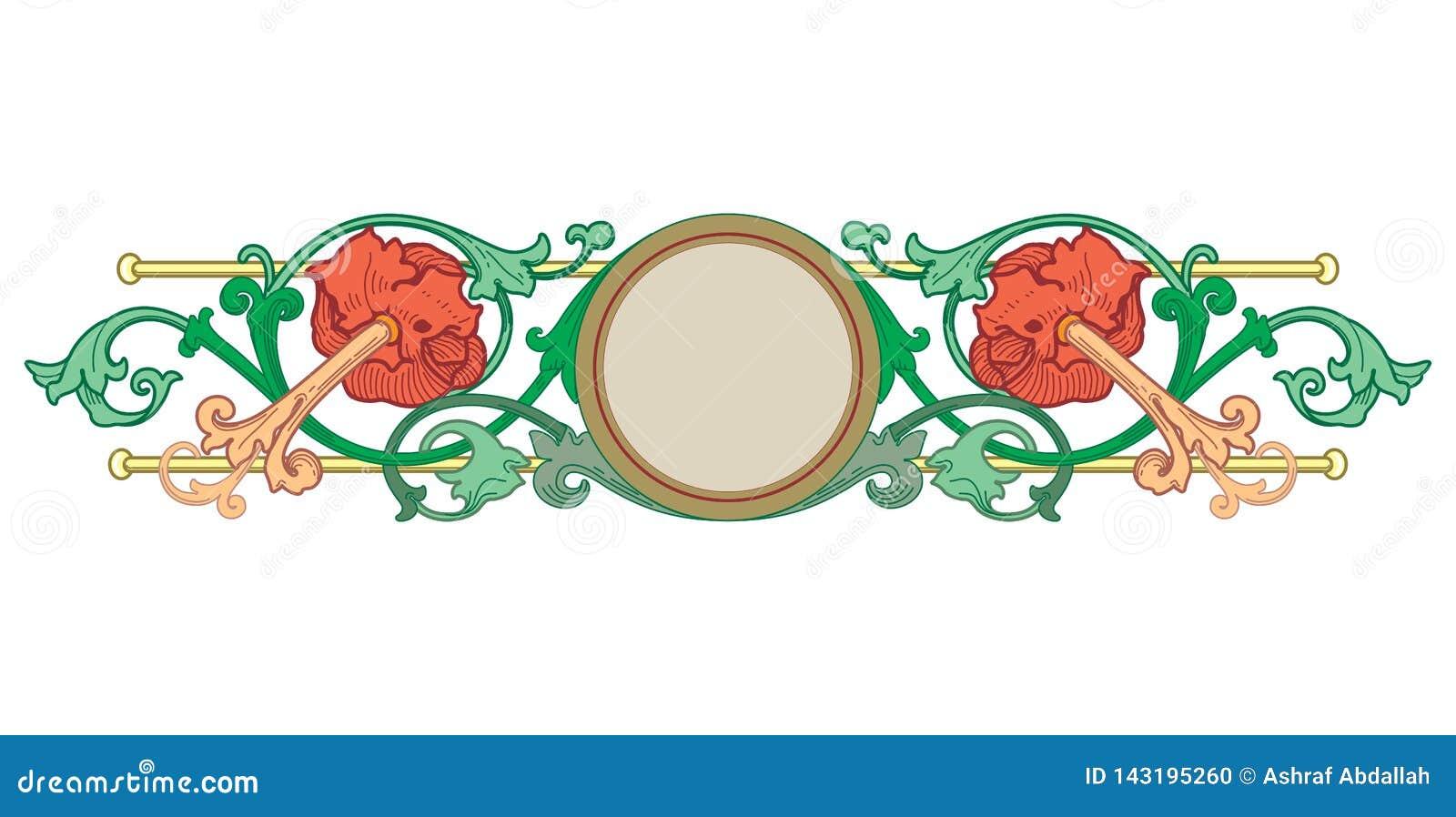 Vector de las fronteras del Viejo Mundo - marco tejado en estilo elegante decorativo del marco de las hojas y de las flores de la