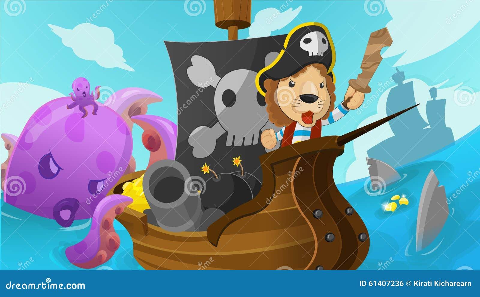 Vector de Lion Pirate Adventure Fantasy Cartoon