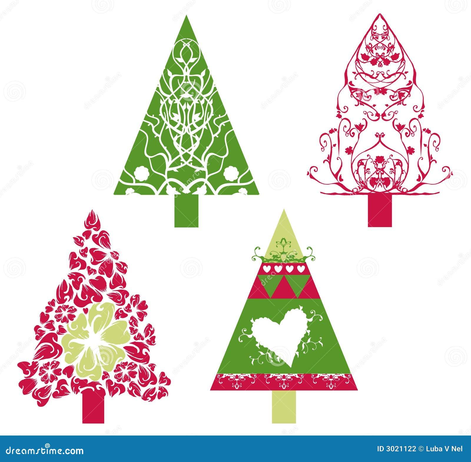 Vector de los rboles de navidad ilustraci n del vector - Tutorial arbol de navidad ...