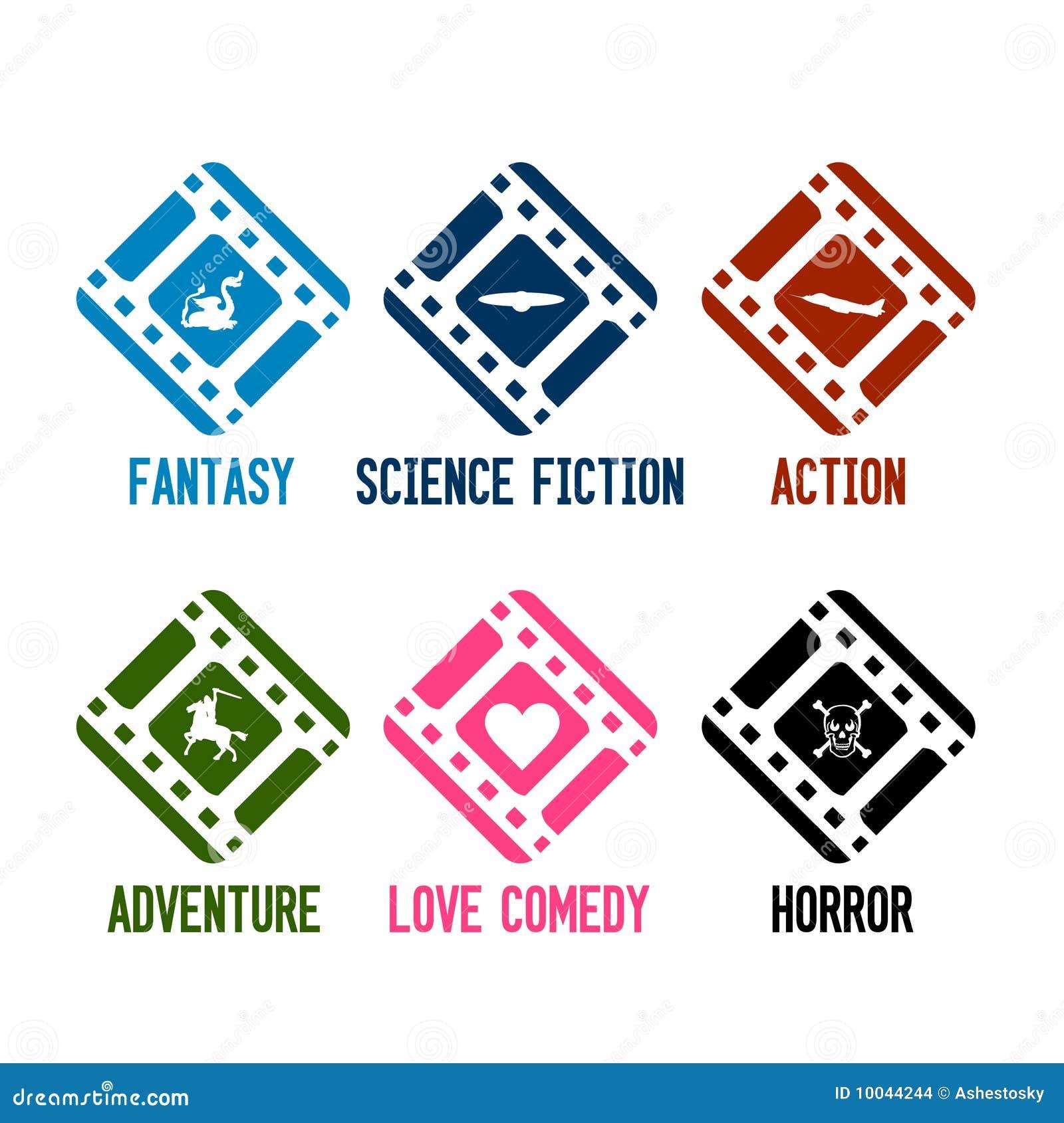 Vector de los iconos de los géneros de la película