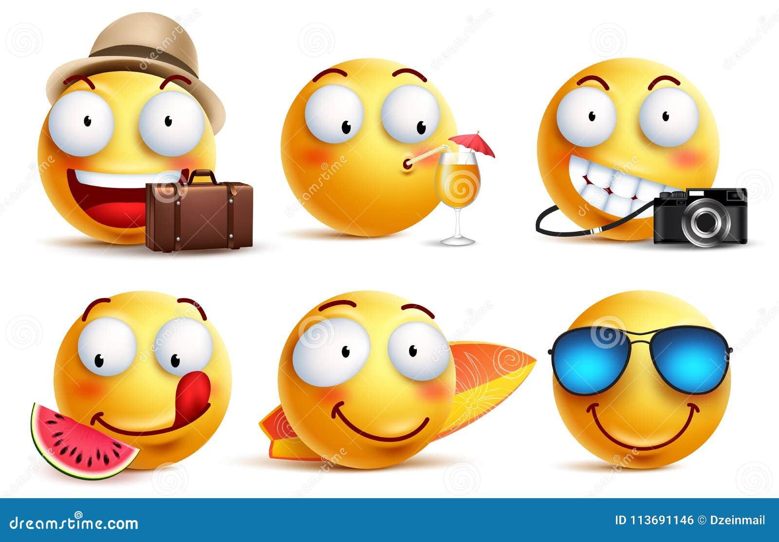 Vector de los smiley del verano fijado con expresiones faciales Emoticons sonrientes amarillos de la cara
