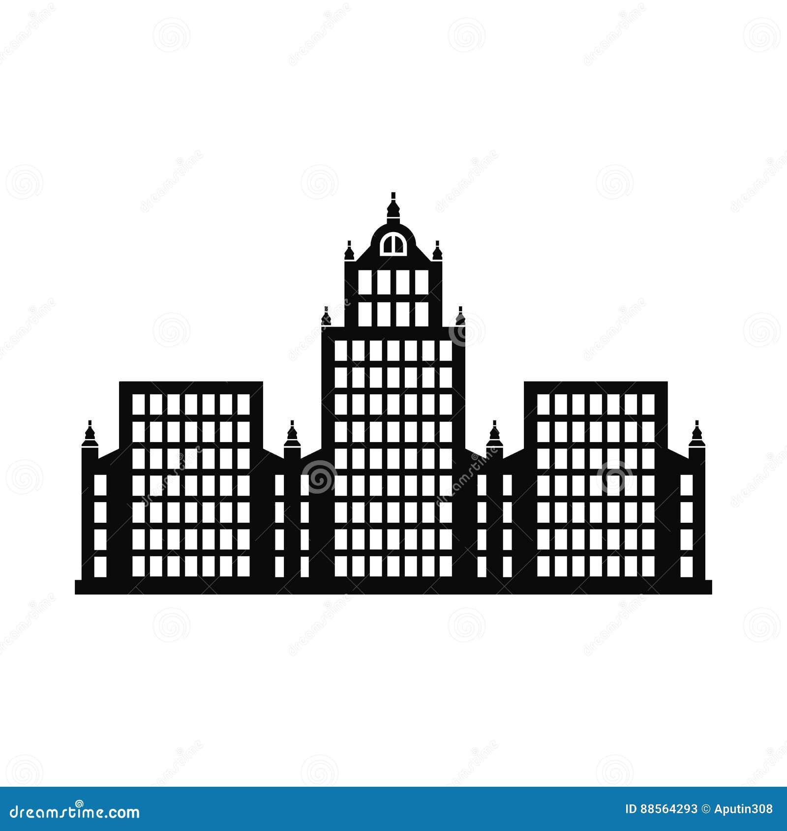 Vector de met meerdere verdiepingen van het openbaar gebouwpictogram