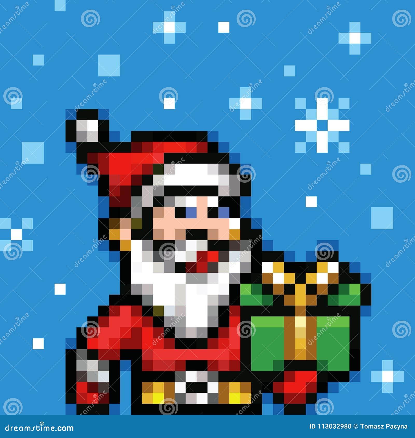 Vector de Navidad de Papá Noel del arte del pixel