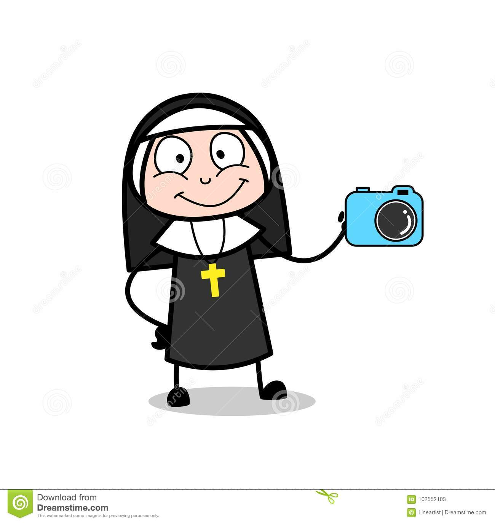Vector de Presenting Digital Camera de la dependienta de la monja de la historieta
