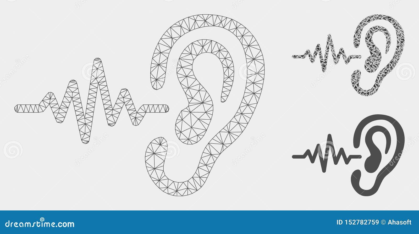 Vector de señal de la audición Mesh Network Model e icono del mosaico del triángulo