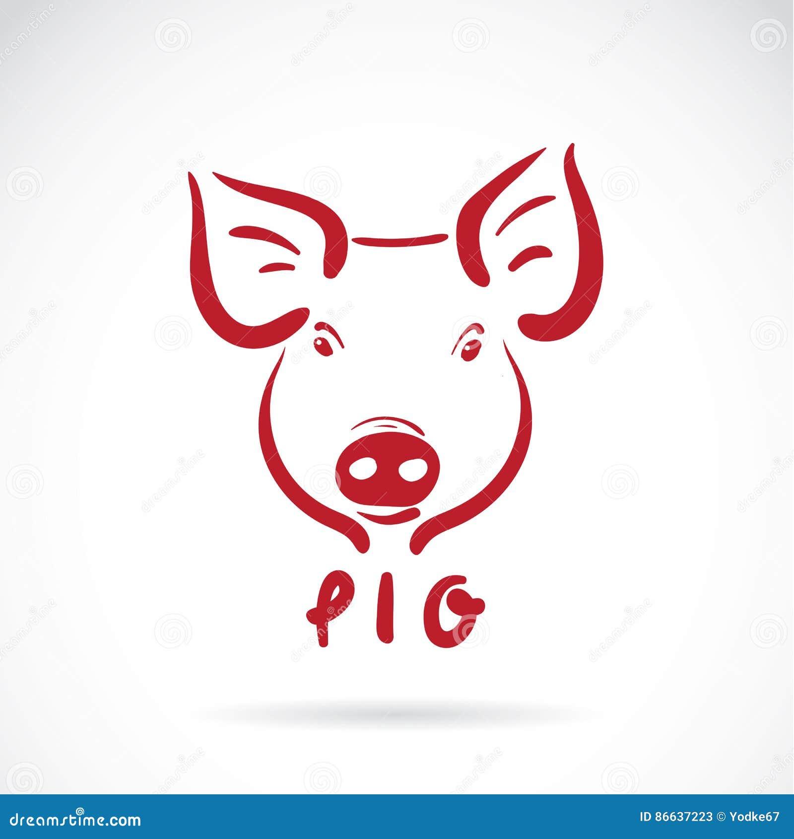 Vector De Una Cabeza Del Cerdo En El Fondo Blanco Ilustración del ...