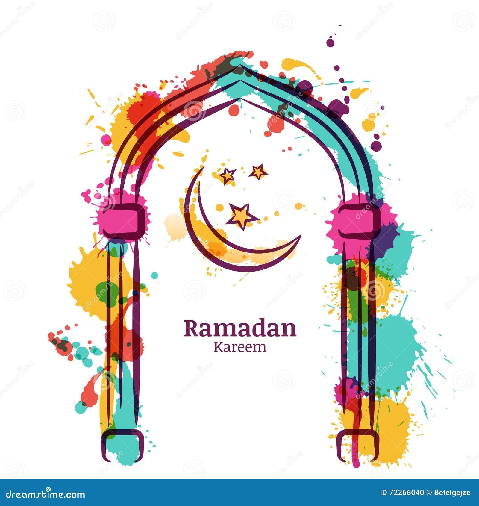 Vector de waterverfachtergrond van Ramadan Kareem met kleurrijke maan en sterren in het venster