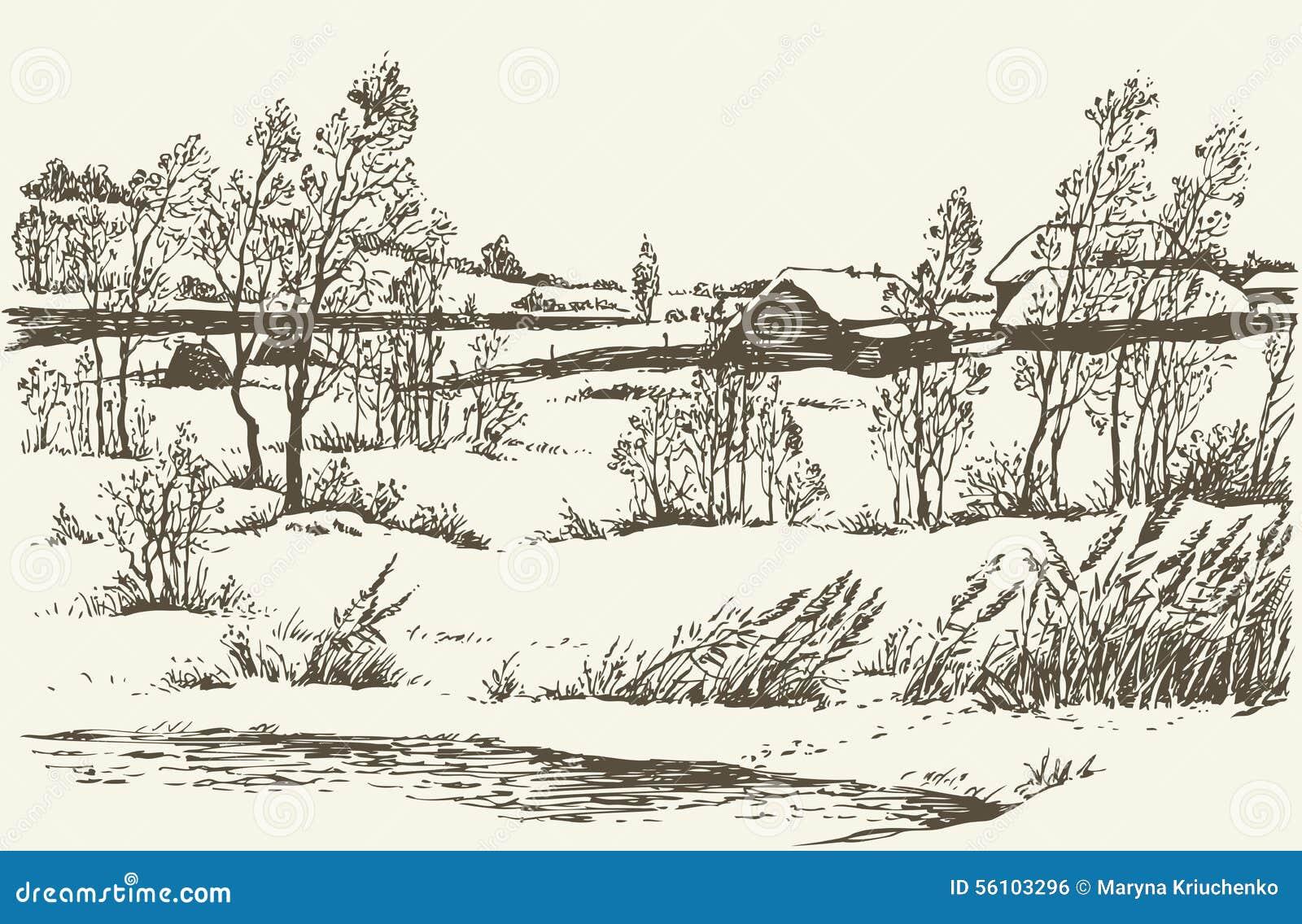 Vector De Winterlandschap Vector Illustratie Illustratie Bestaande
