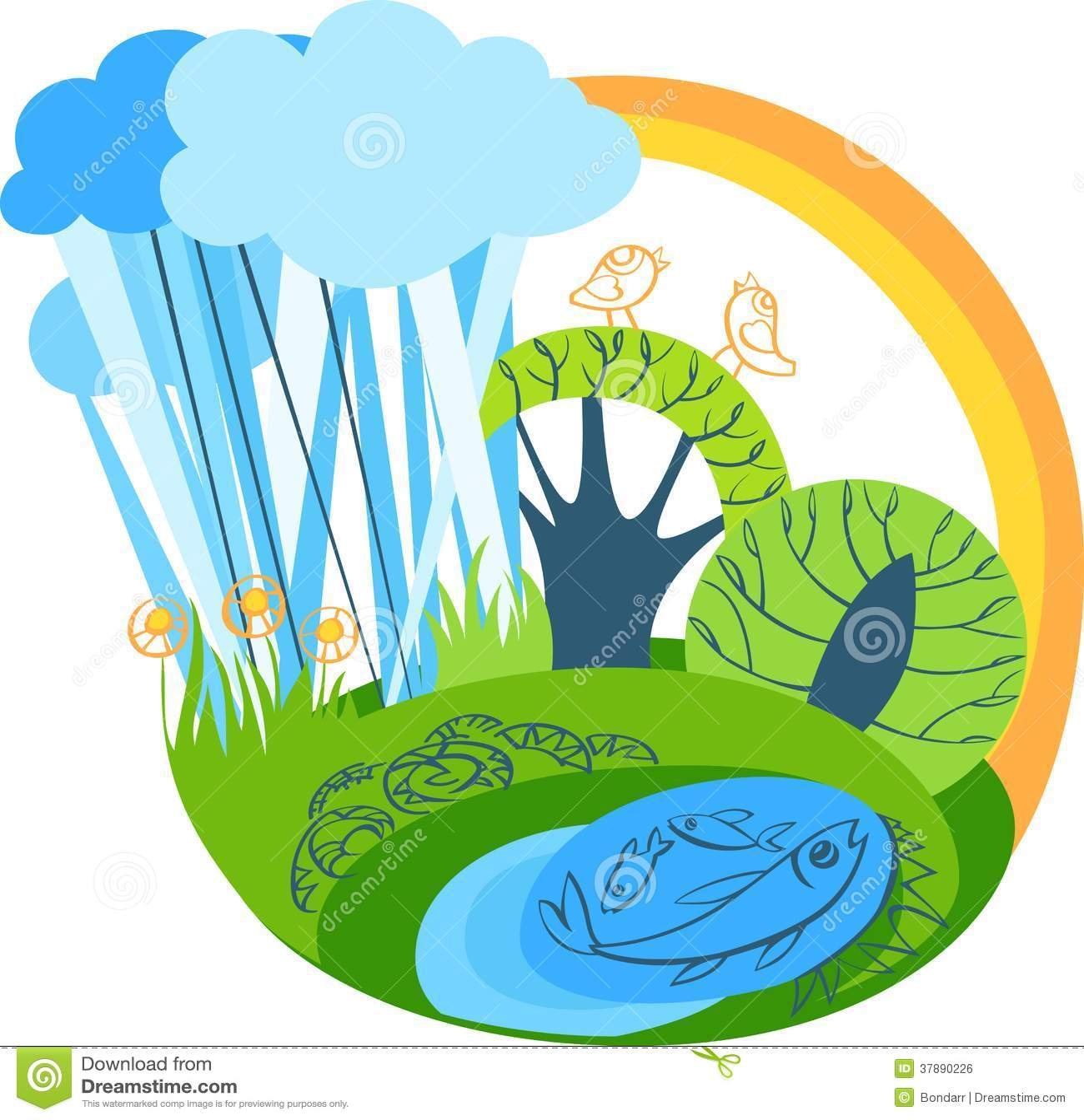 Vector de zomerlandschap met regenboog
