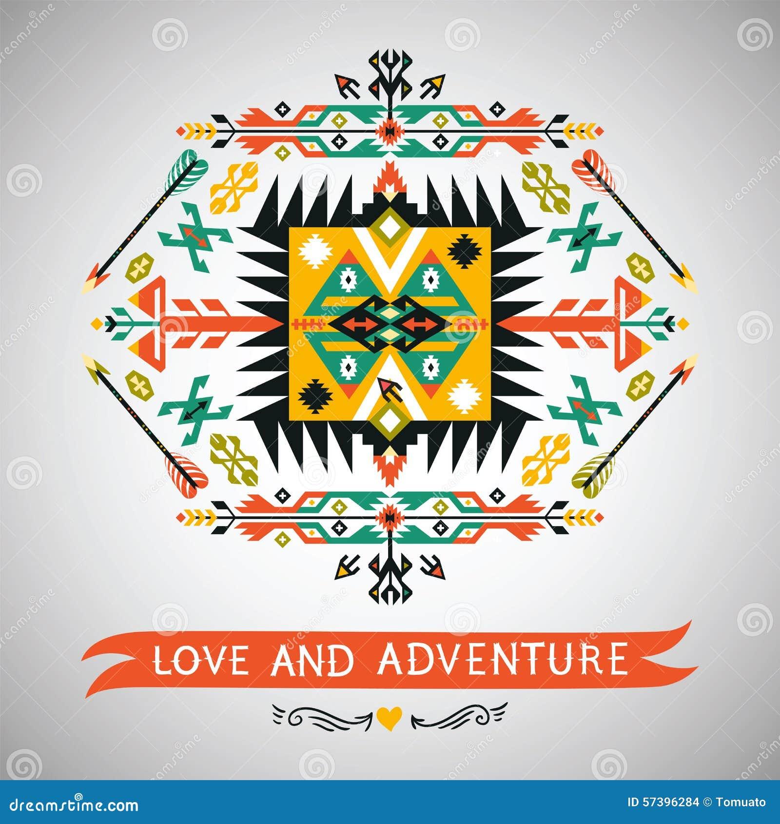 Vector decoratief element op inheemse etnische stijl