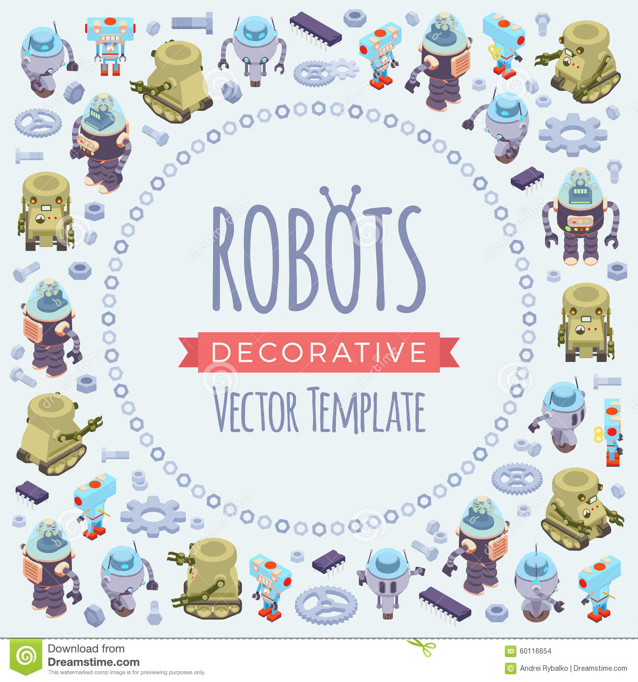Vector decorating design made of robots stock vector for Copy design