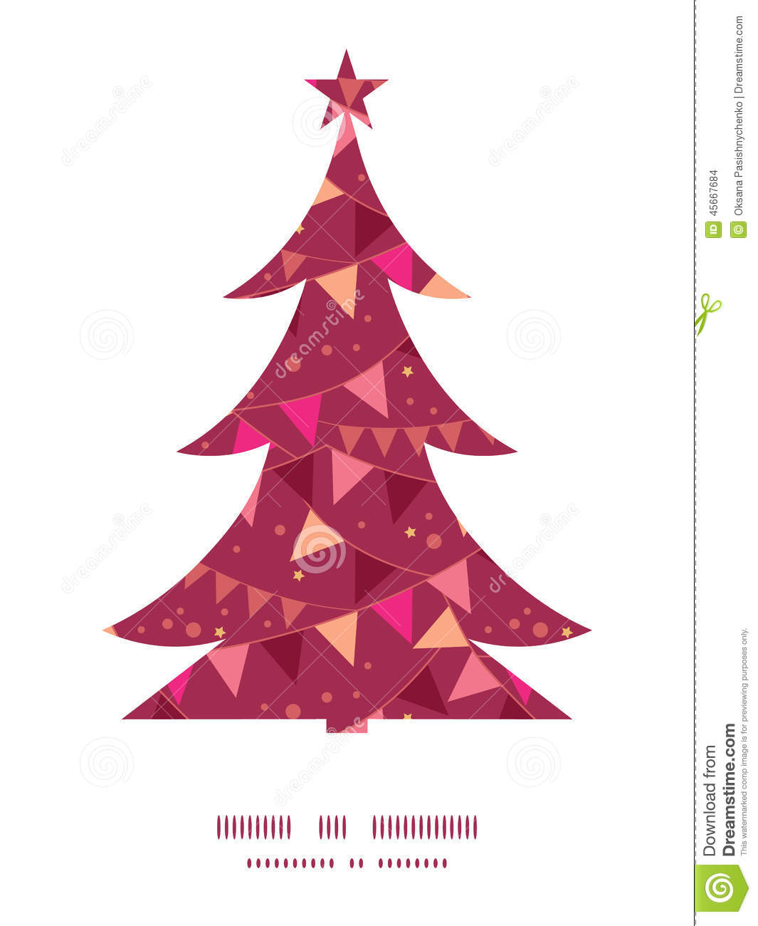 Vector decorations flags Christmas tree silhouette pattern frame card ...
