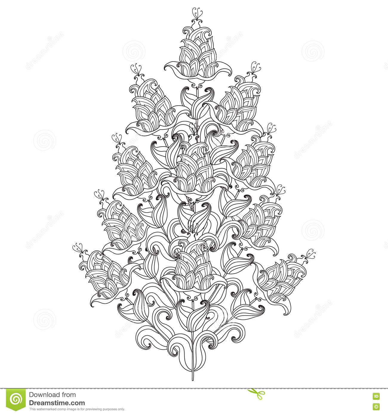 vector decorative black and white flowers stock vector image