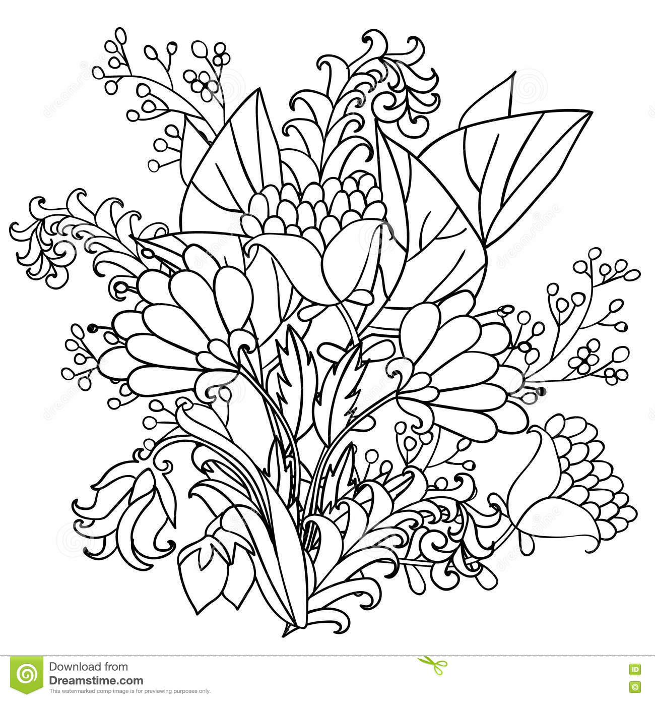 Vector Decorative Black And White Flowers Stock Vector ...