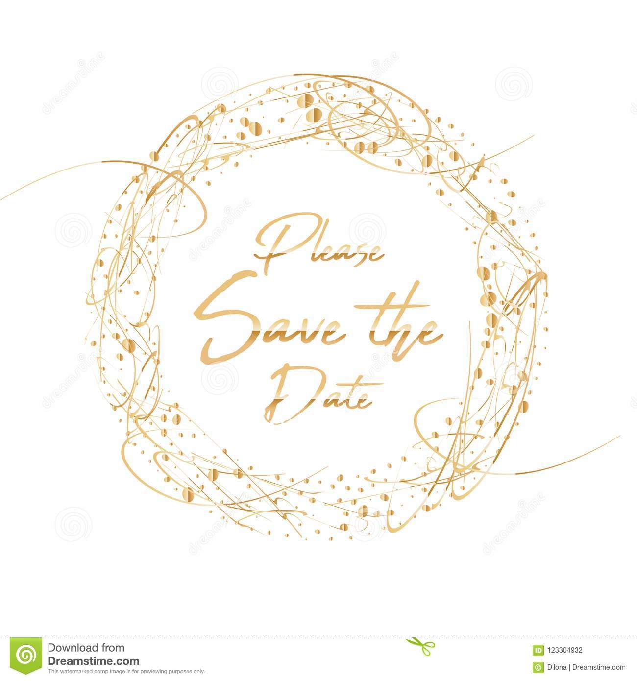 please save the date lettering vector handdrawn frame with golden