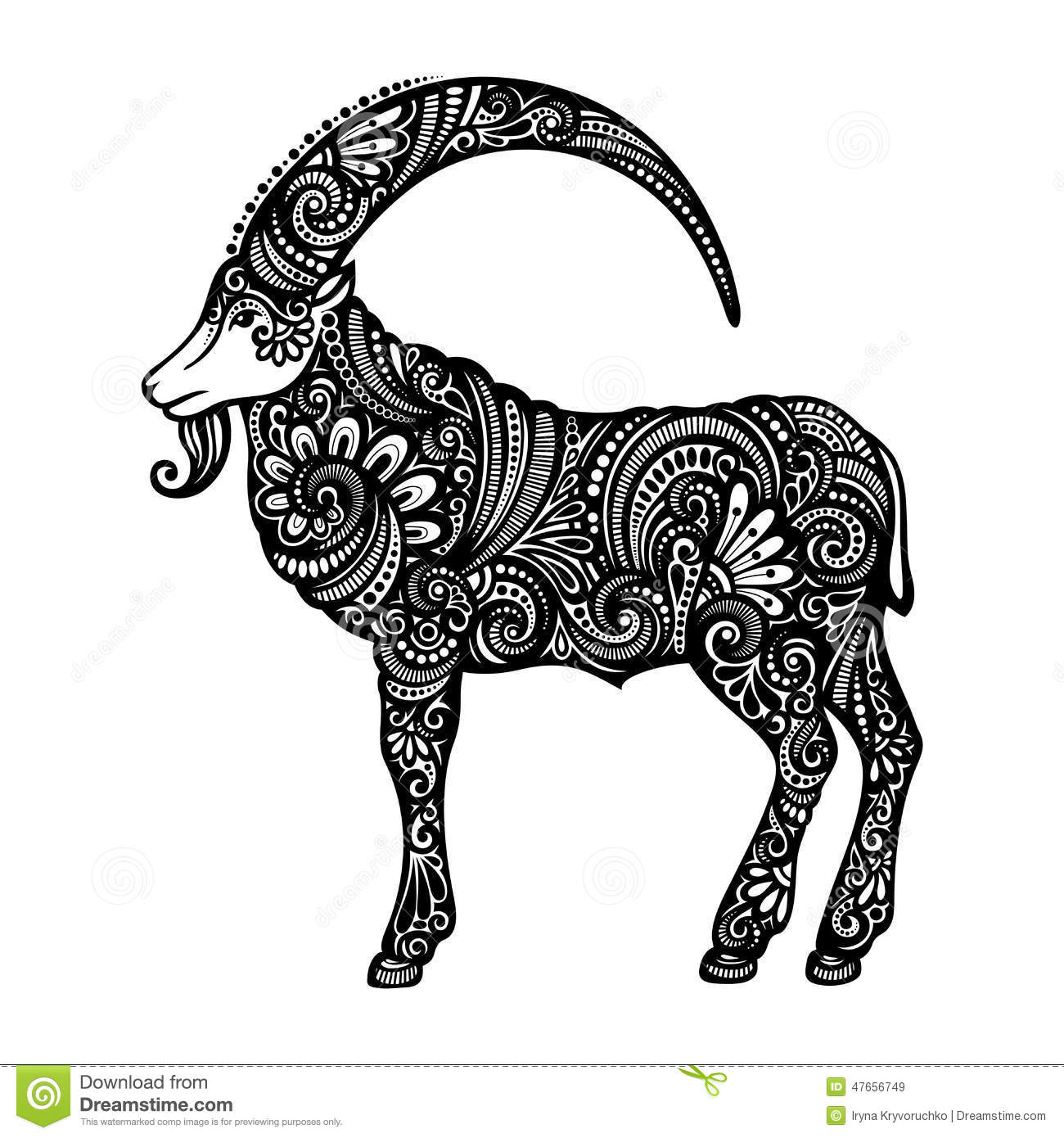 Vector Decorative Goat With Patterned Horns Stock