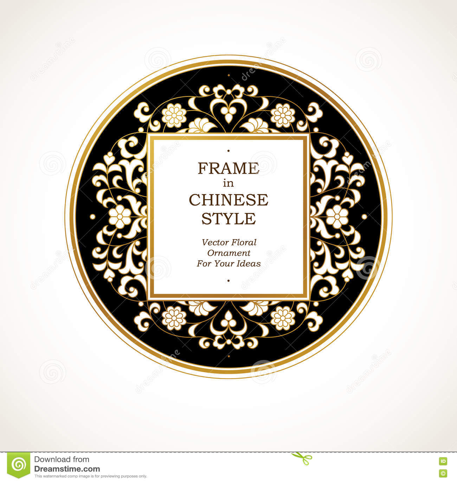 line of chinese frame stock illustration illustration of floral