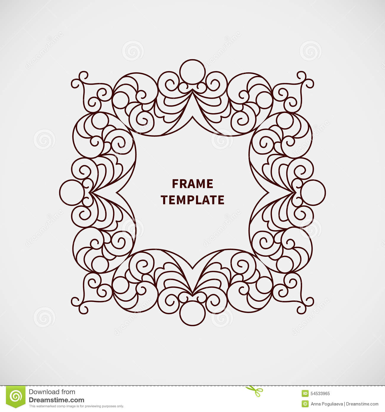 Frame Design Line Art : Vector decorative line art frame for design template