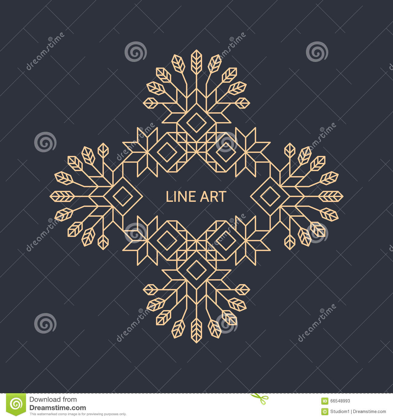 Line Art Text : Vector decorative line art frame geometric vintage style