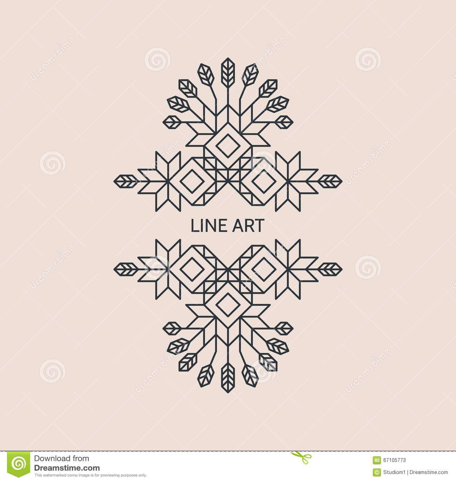 Line Art Text : Vector decorative line art frame geometric vintage style