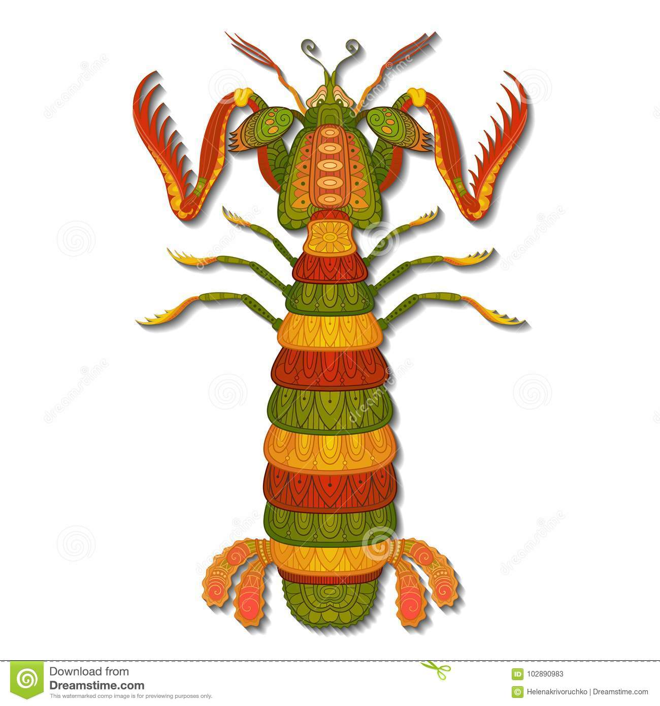Vector Decorative Mantis Shrimp For Coloring Book Stock