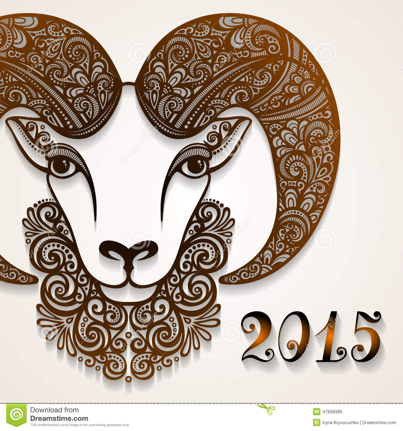 Download Vector Decorative Sheep With Patterned Horns Stock Vector - Illustration of head, design: 47658385