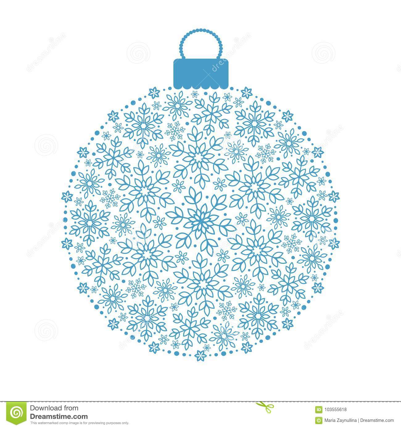 hanging christmas ornament with outlined snowflakes stock vector