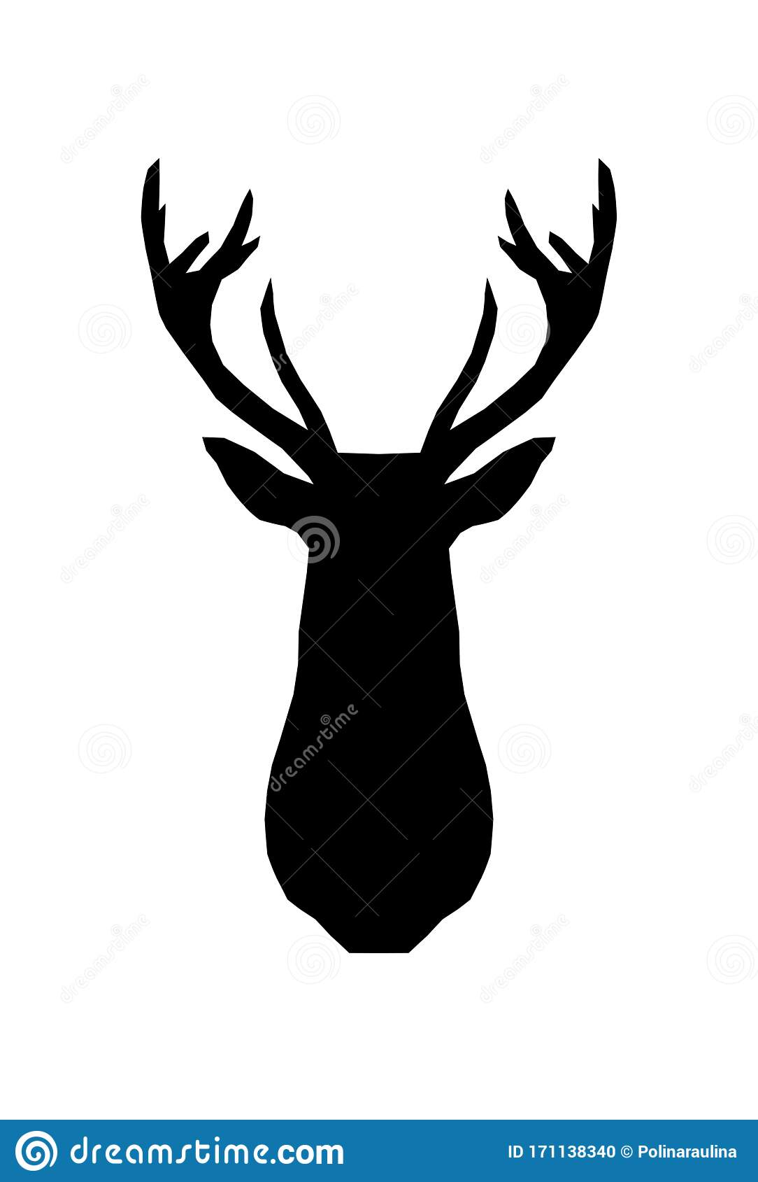 Vector Deer Head Silhouette Stock Vector Illustration Of Mammal Logo 171138340