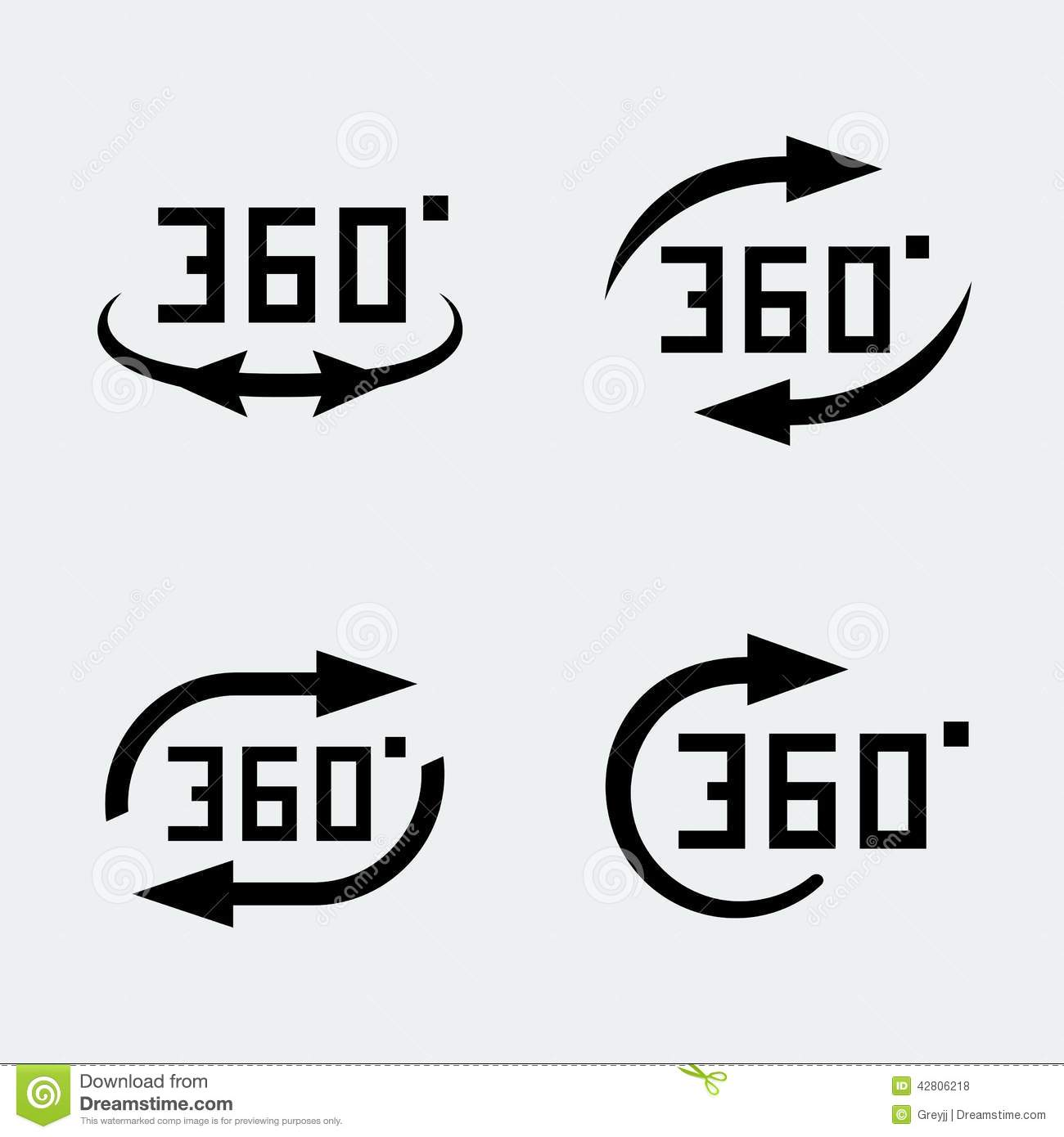 Vector 360 Degree Rotation Icons Stock Vector Illustration Of