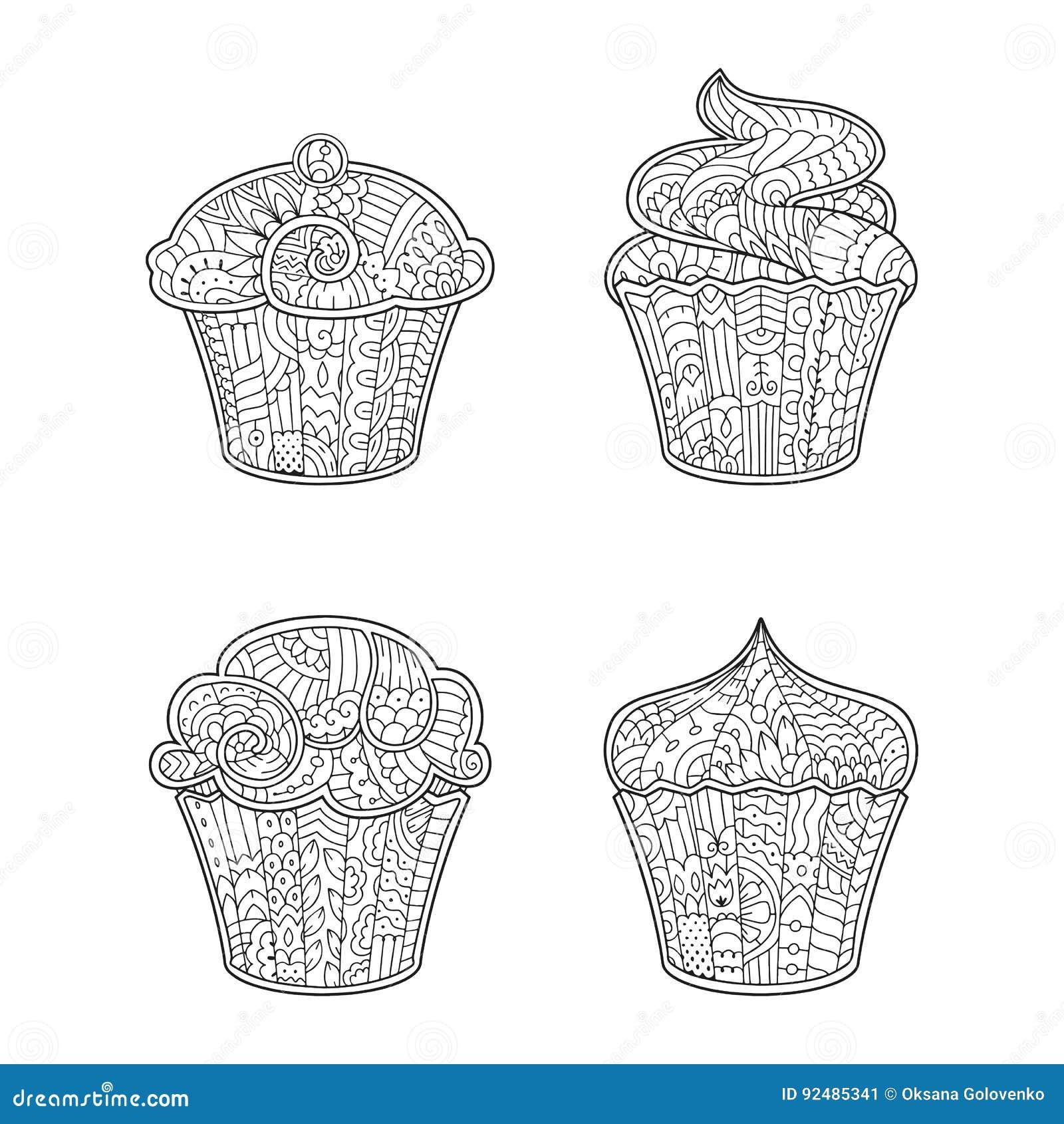 Vector dekorativen kleinen Kuchen in der Zenart für erwachsenes Malbuch